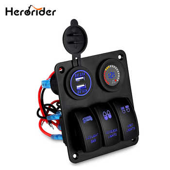 Herorider Marine Boat Car Switch Panel 3 Gang with Voltmeter Socket Dual USB Charger Car LED light On/Off Rocker Switch Panel - DISCOUNT ITEM  30% OFF Automobiles & Motorcycles