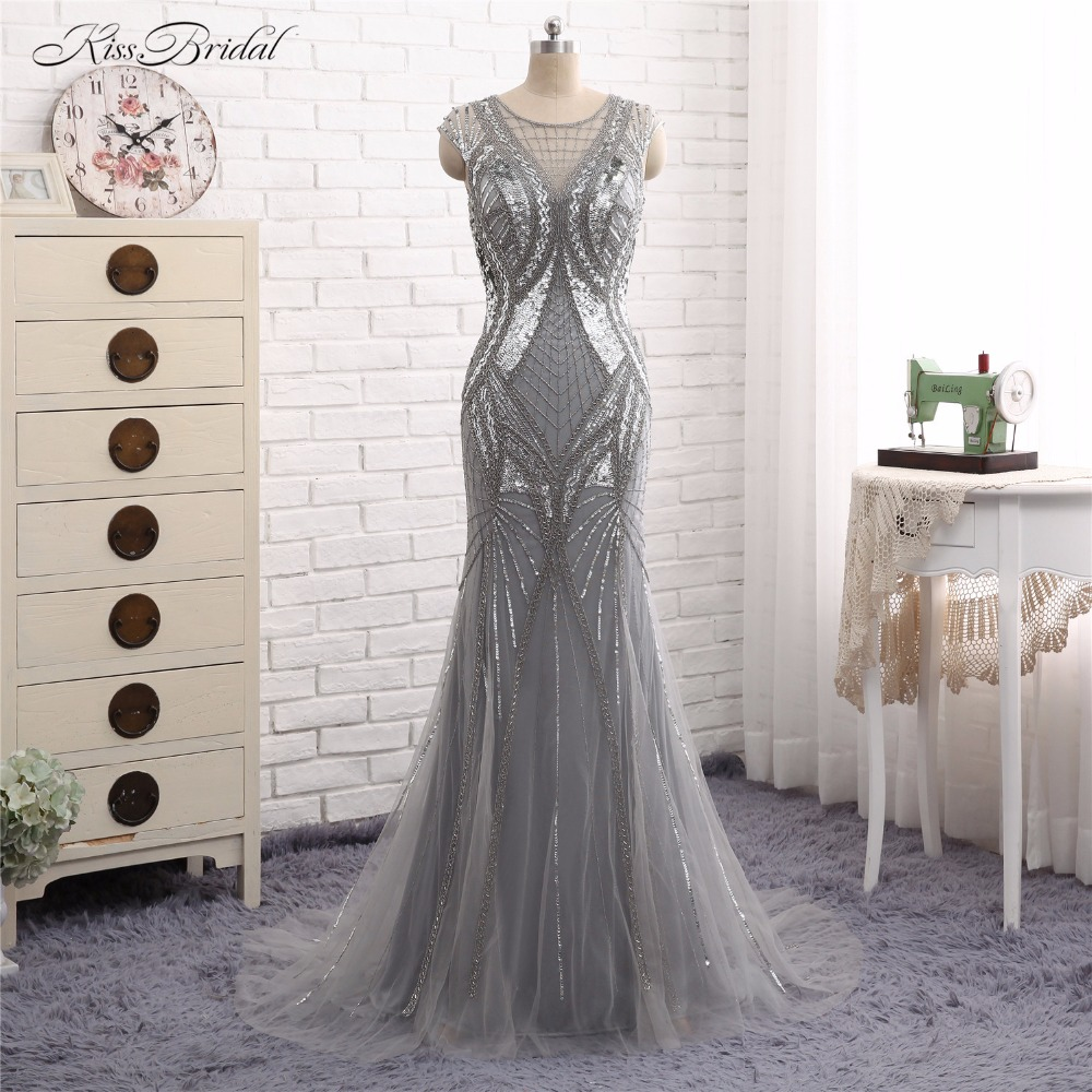 Vestido de Festa   Evening     Dresses   Long Abendkleider Mermaid Scoop Neck Short Cap Sleeve Crystal Beaded Party Prom Gown 2017