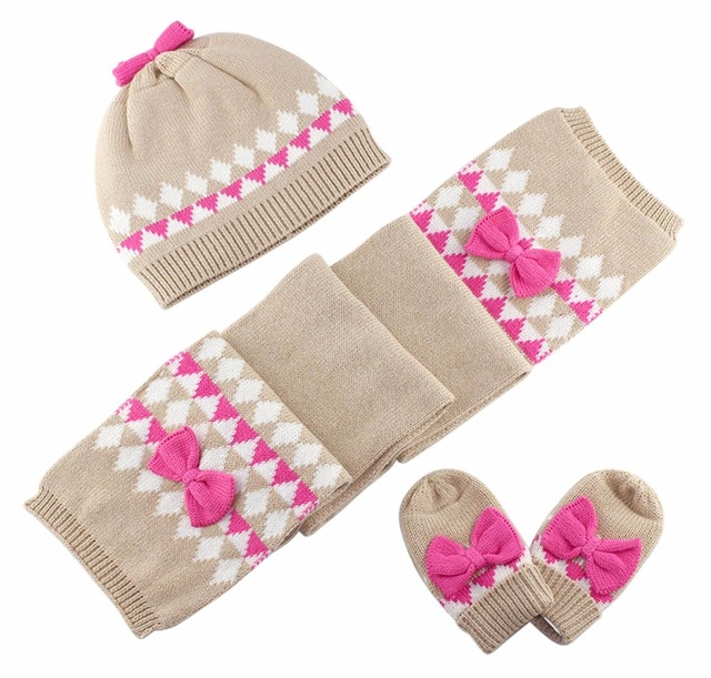 cbc347bd29807 Baby Kids Hat Scarf Gloves Sets Children Winter Warm Accessories Baby Girl  Kids Infant Bow Cotton