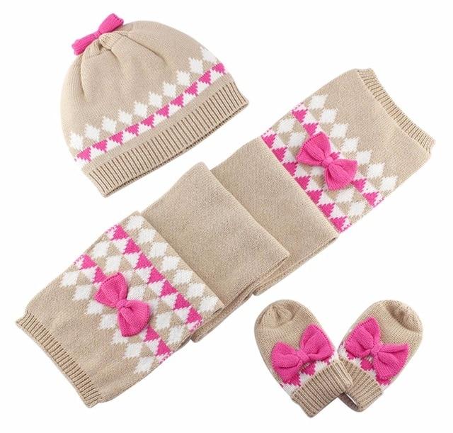2d68234ec6145 Baby Kids Hat Scarf Gloves Sets Children Winter Warm Accessories Baby Girl  Kids Infant Bow Cotton