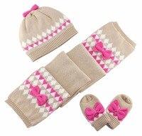 Baby Kids Hat Scarf Gloves Sets Children Winter Warm Accessories Baby Girl Kids Infant Bow Cotton