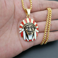 Men's Bling Bling Iced Out Chief Head Charm Necklace & Pendant With 3mm Tennis Chain Hip Hop Gold Color Stainless Steel Jewelry