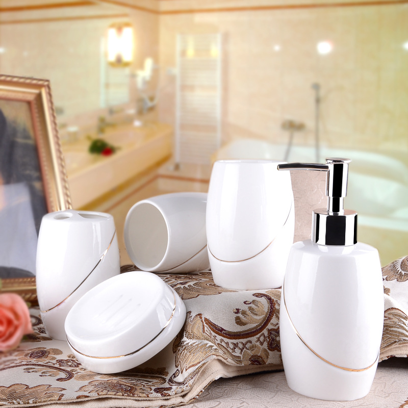 Simple and elegant accessories gold jade crystal porcelain for Bathroom ware