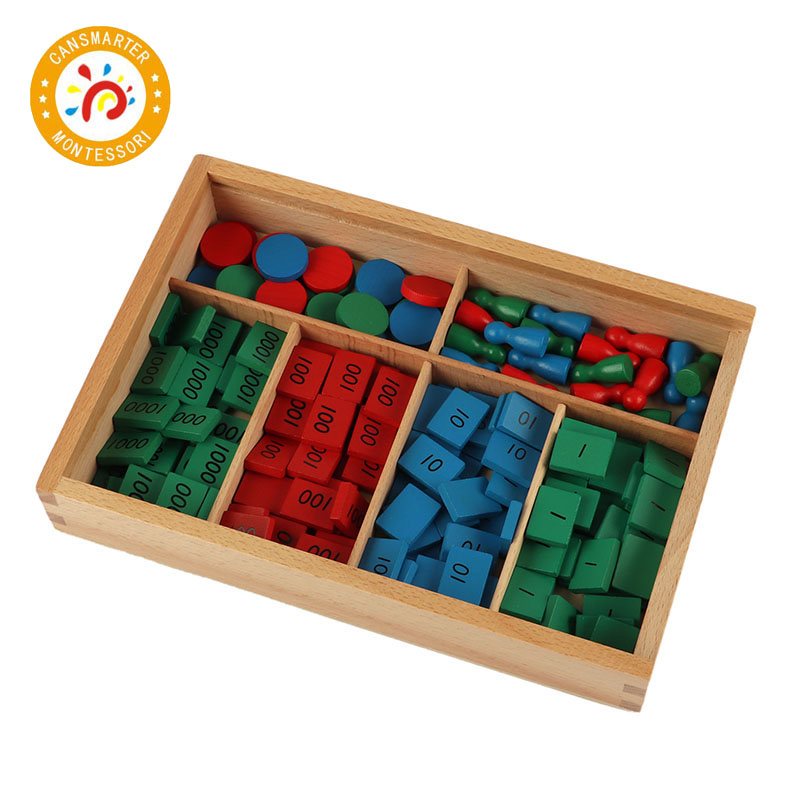 Montessori Materials Wooden Toys Stamp Game Different Edition Wood Labels Stamps Math Toy Early Educational