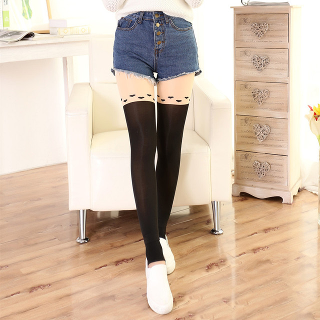 Cute Women Tail  Mock Knee High Hosiery thickening  Pantyhose Tattoo Tights