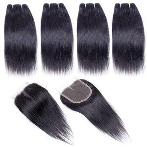 Image 2 - 50 gr/teil Brasilianische Menschliches Haar Bundles Mit Schließung Gerade Haar Bundles Mit Verschluss 4 Bundles Mit Mittelteil Verschluss Nicht Remy