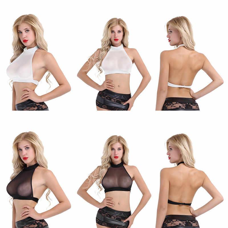 51253c4c3e17a ... YiZYiF Mesh Women Crop Top See-through Bra wetlook Top T Shirts Sexy  Halter Neck ...