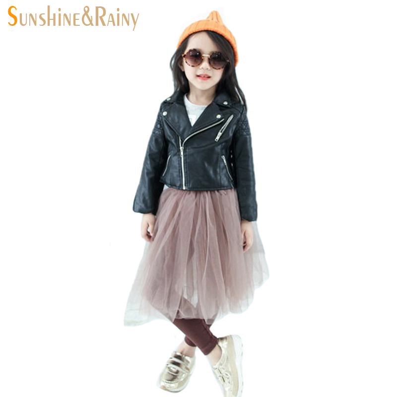 Spring Autumn Fashion Kids Leather Jacket Girls PU Jacket Children Leather Outwear For Girl Baby Girl Jackets and Coats 2~7 T
