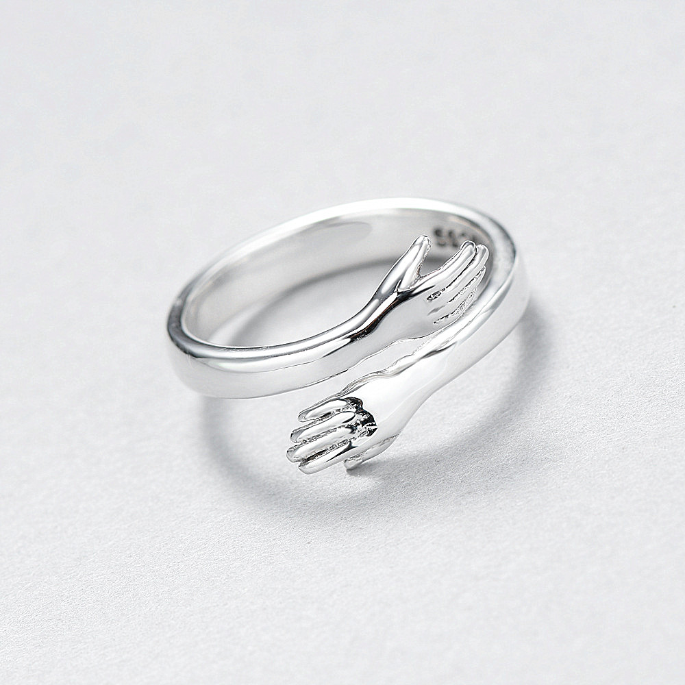 Slovecabin Original 925 Sterling Silver Party Rings Give Me A Hug