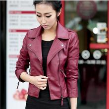 Red black color great quality 2016 Autumn new Korean version PU leather lapel large size women's leather motorcycle jacket w1138