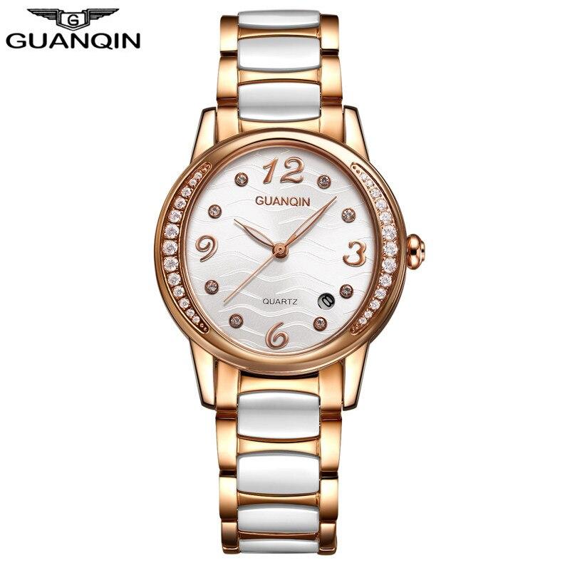 GUANQIN Топ Элитный бренд Керамика женские часы ультратонкий Водонепроницаемый кварцевые часы Повседневное модные белое платье часы женские