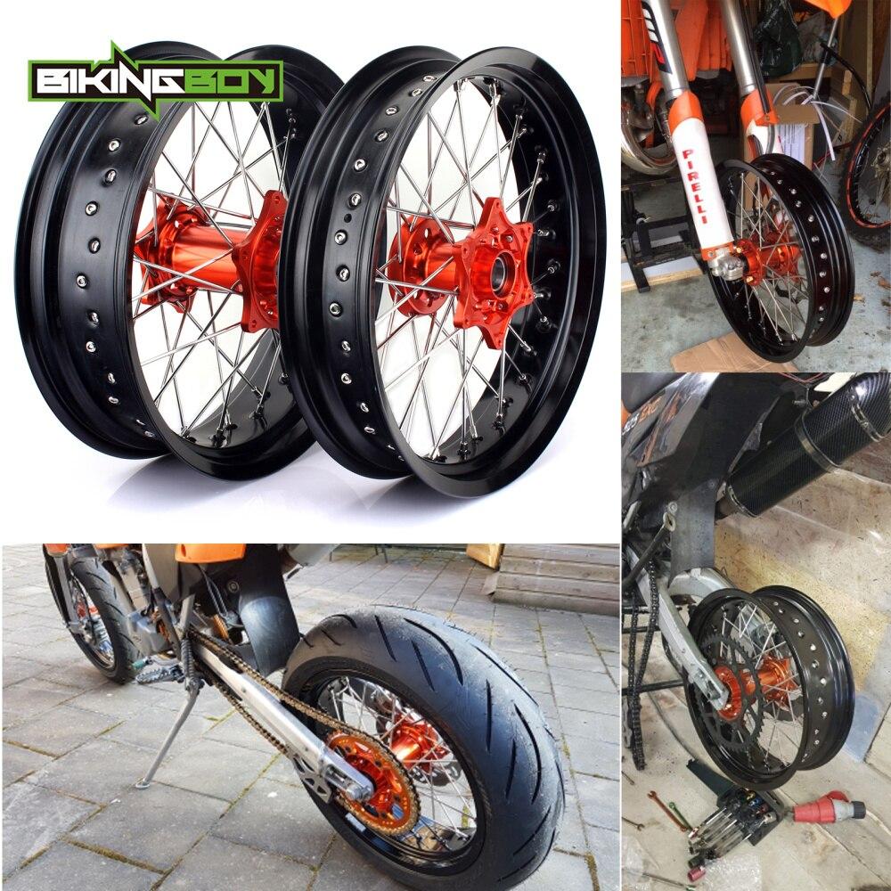 BIKINGBOY 17 x 3 5 17 x 4 5 Supermoto Front Rear Wheels Rims Hubs Sets