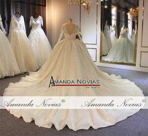 Image 5 - Stunning full beading shinny wedding dress long sleeves 2020 bridal dress real work amanda novias