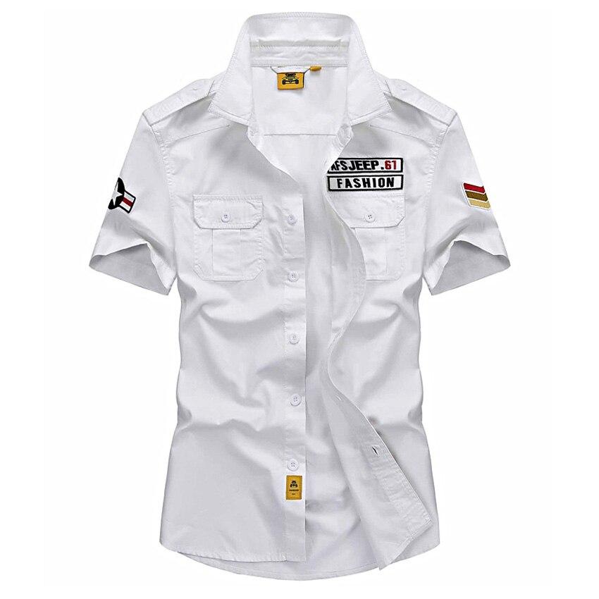 AFS JEEP Brand Shirt Men 2017 Casual 100 Cotton Mens Summer Shirts Short Sleeves Camisas Hombre