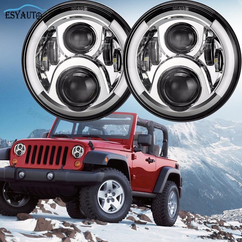 7-дюймовый круглый светодиодные фары головного света с 60 Вт Белый DRL Янтарь сигнала поворота половина гало кольцо для бездорожья фары для Jeep Вранглер JK, как ЖЖ (пара)