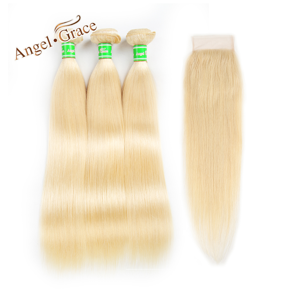 Blonde Hair Bundles With Closure Angel Grace Brazilian Straight Hair Bundles 100 Human Hair 613 Bundles