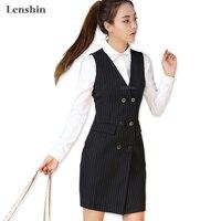 Lenshin Women Black Two Pockets Sleeveless Striped Dress V Neck Zipper Slim Work Wear Office Lady
