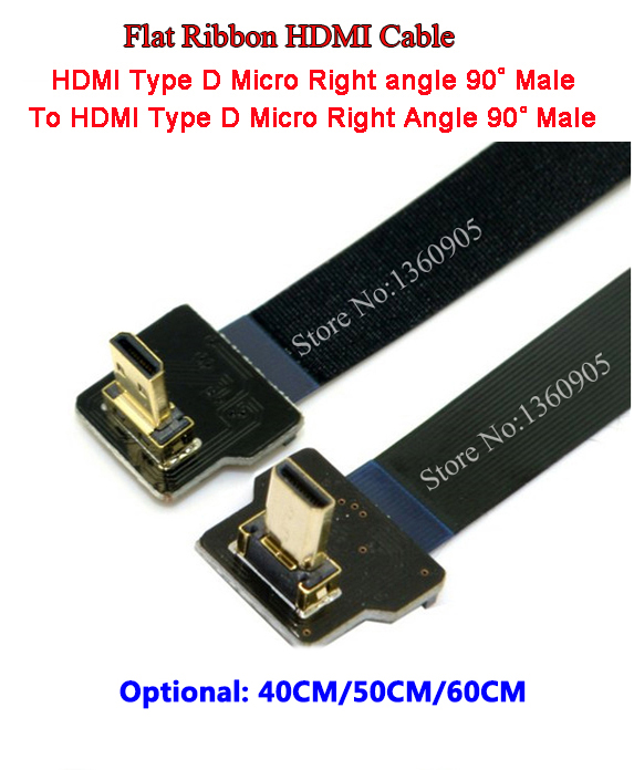 40CM/50CM/60CM 90 Degree Up Angled FPV Micro HDMI Male To Male Micro TypeD Down Angle 90 Degree FPC Flat Ribbon Cable