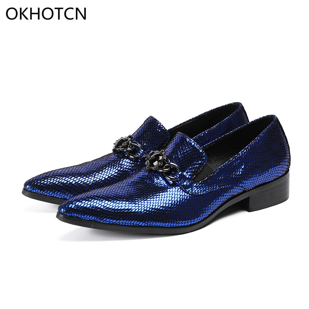 Okhotcn Italiano De Luxo Oxford Terno Sapatos Sapatas Genuíno up Homens Escritório Vestido Patente Azul Couro Casamento Vaca Dos Lace 11dIwxrq