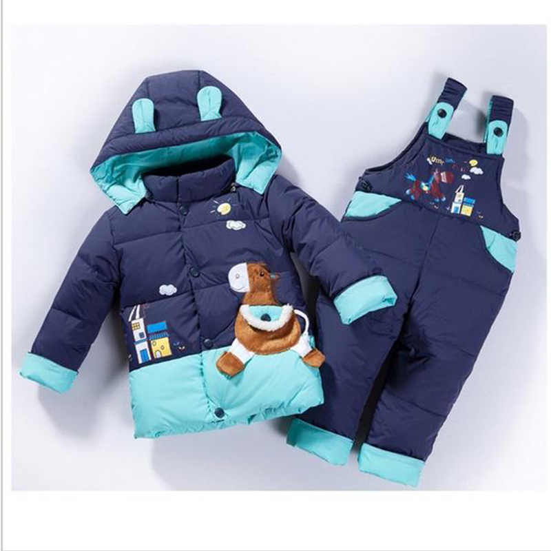 cartoon baby Children boys girls winter warm down jacket suit set thick coat+jumpsuit baby clothes set kids jacket animal Horse new free shipping 2015 winter coat baby clothing set children boys girls warm down thicken jacket suit set baby coat