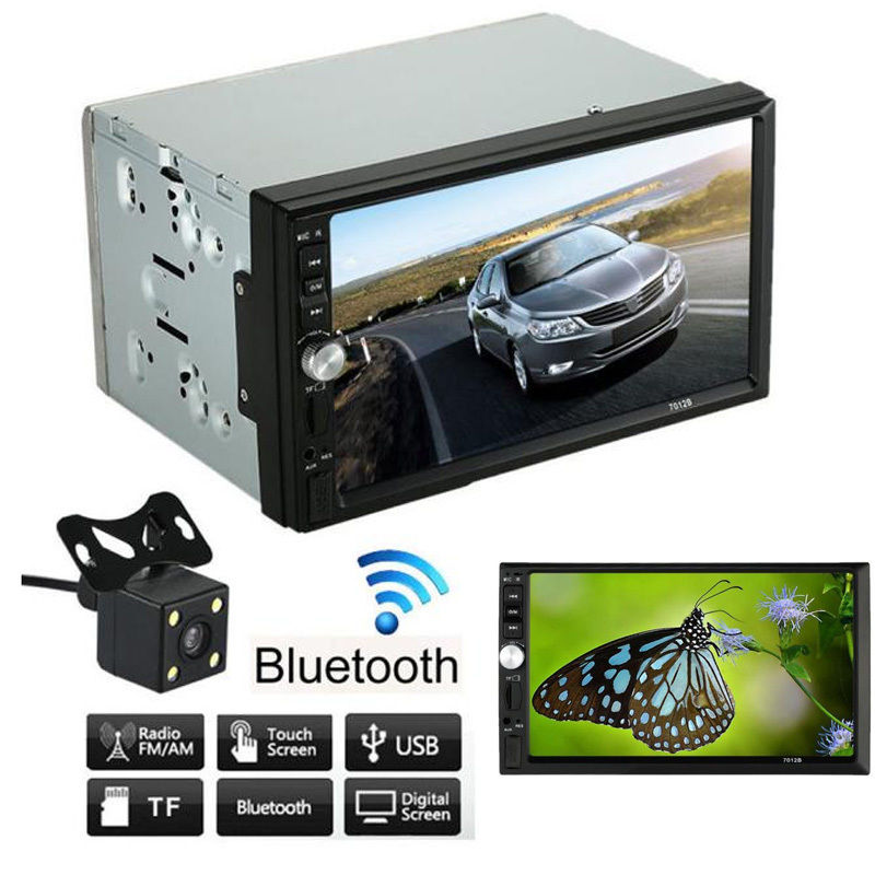Car Styling Black 7 Inch Large HD Touch Screen Bluetooth Car Vehicle DVD FM/MP5 Radio Player Universal Auto Input with Camera