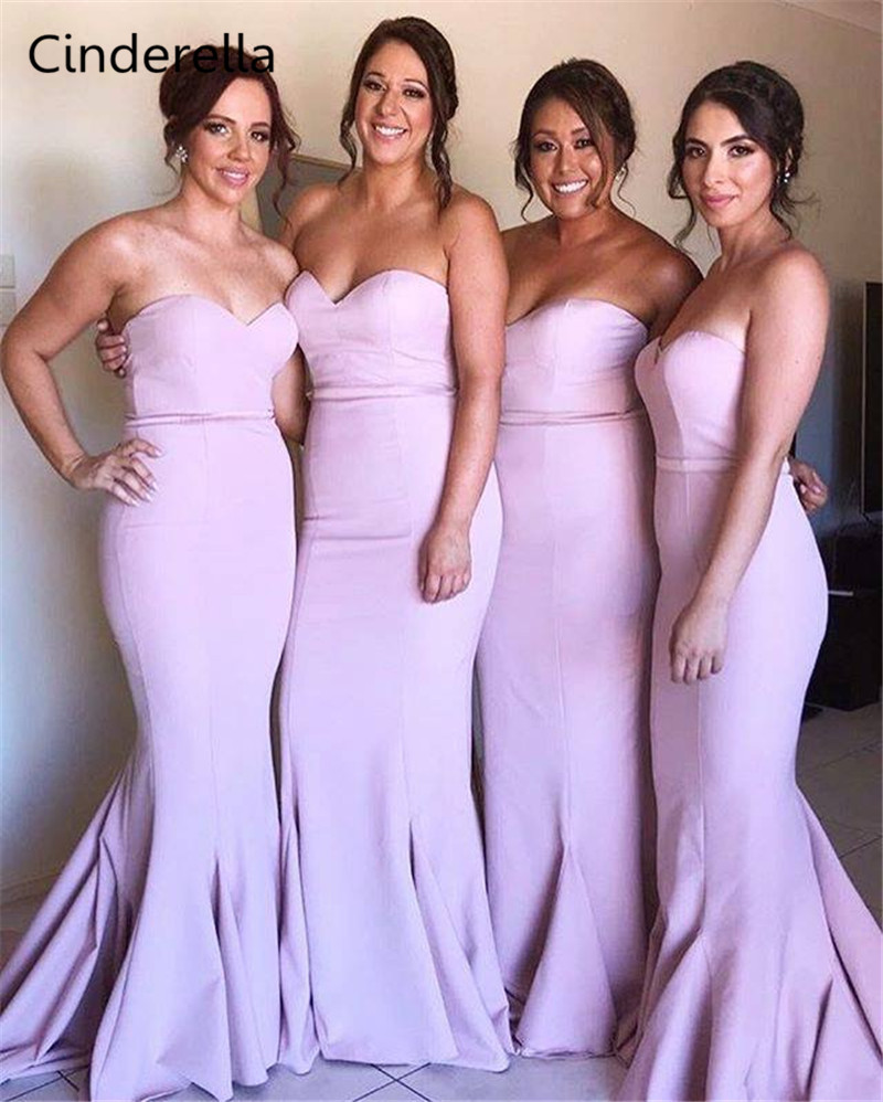 Cinderella Pink Sweetheart Sleeveless Mermaid Bridesmaid Dresses With Sash Zipper Back Trumpet Satin Fabric Bridesmaid Gowns