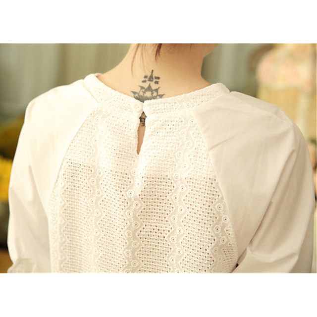 Summer Blouse Women Half Sleeves White Blouse Shirt O-neck Button Raglan Sleeve Hollow Out Casual Lady Tops ruffle blouse Cotton 4