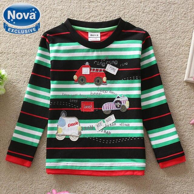 Nova Оптовая новый 2016 baby boy одежда футболка печати автомобиль полосой детская одежда из 100% хлопка Футболка детская одежда A2129