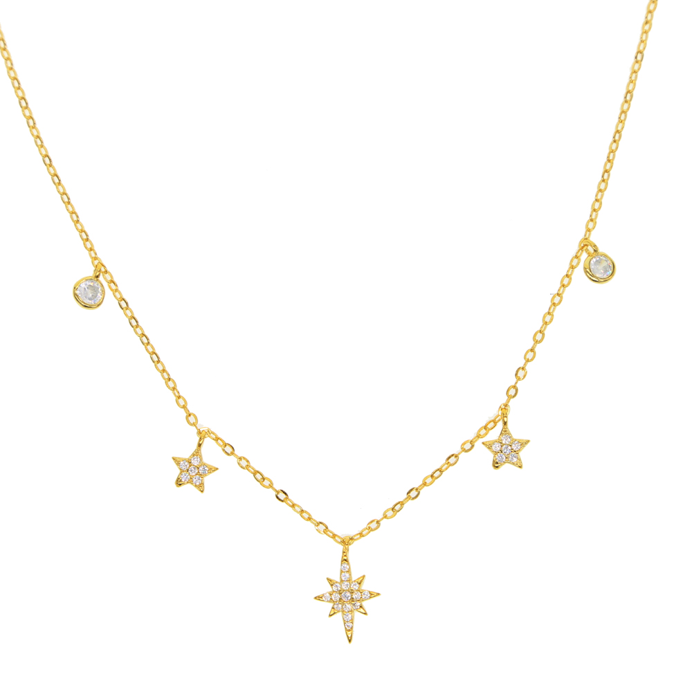 Sterling Silver 925 Star Station Charm Pendant Necklace 5mm