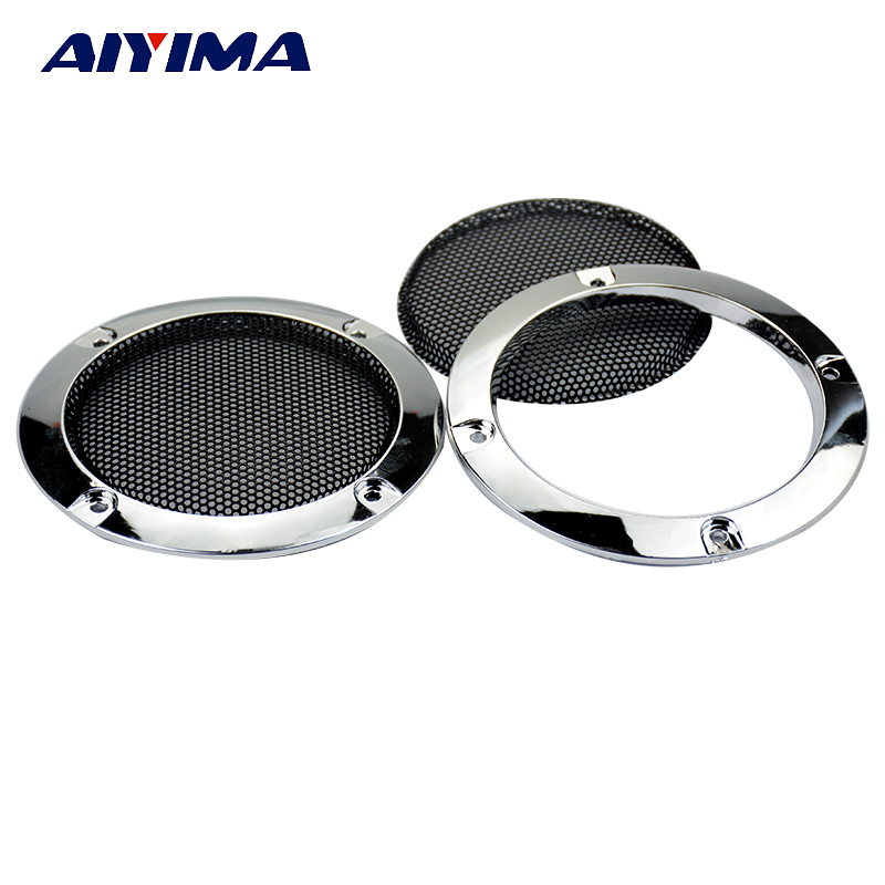 Aiyima 2PC 3Inch Silver Car Speaker Grill Mesh Net Loudspeaker Protective Cover Grille DIY