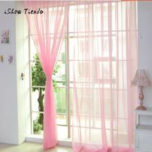Curtain Pure Color Tulle Door Window Curtain Drape Panel Sheer Scarf Valances Modern bedroom Living Room Curtains Cortinas cheap ISHOWTIENDA Left and Right Biparting Open Translucidus (Shading Rate 1 -40 ) Woven Flat Window Exterior Installation Excluded