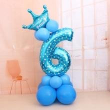 1 компл. Синий Розовый Фольга номер шар латексные воздушные шары с короной юбилей ребенка душ Дети День рождения надувные игрушки