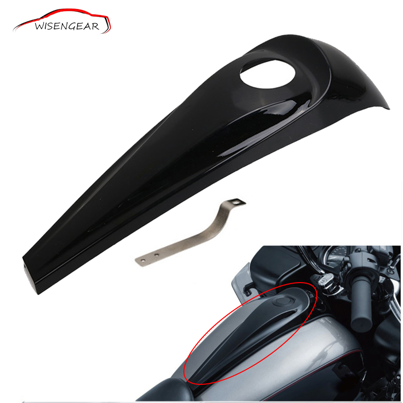 WISENGEAR Motorcycle Fuel Tank Oil Gas Smooth Dash Console Cover For Harley Touring Electra Road Street Glide 2008-2017 C/5 wisengear motorcycle parts beveled black dash insert deep cut cover for harley street road glide flhx fltrx 2008 2017 c 5