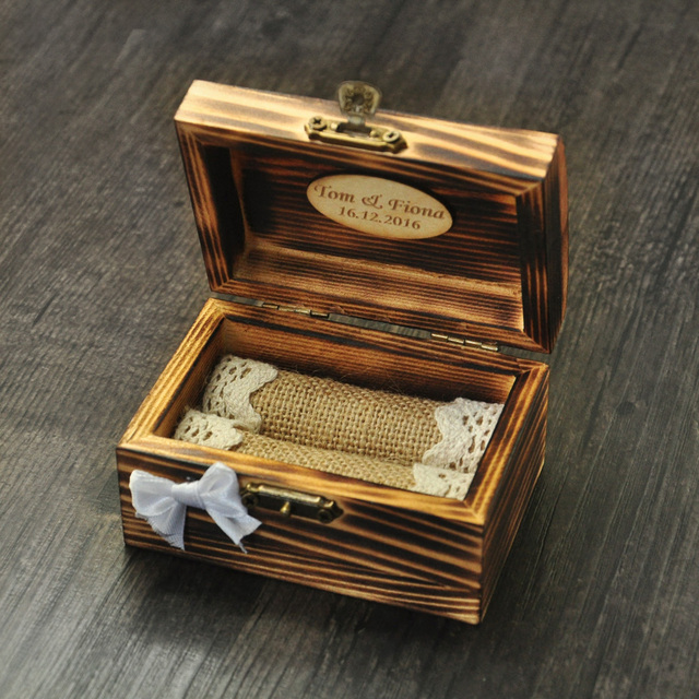 Personalized Wedding Ring Box Wooden Ring Holder Rustic Ring Bearer