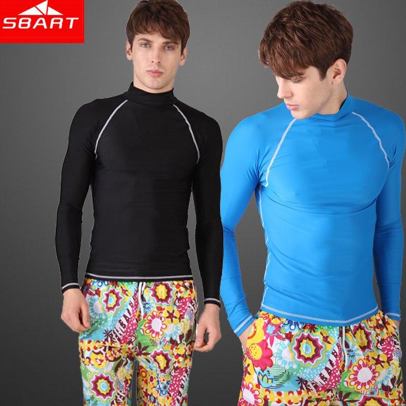 87c5accb1499 SBART de manga larga de lycra nadar camisas para hombre erupción Surf  camisa bañador Rashgard nadar traje de buceo traje Top