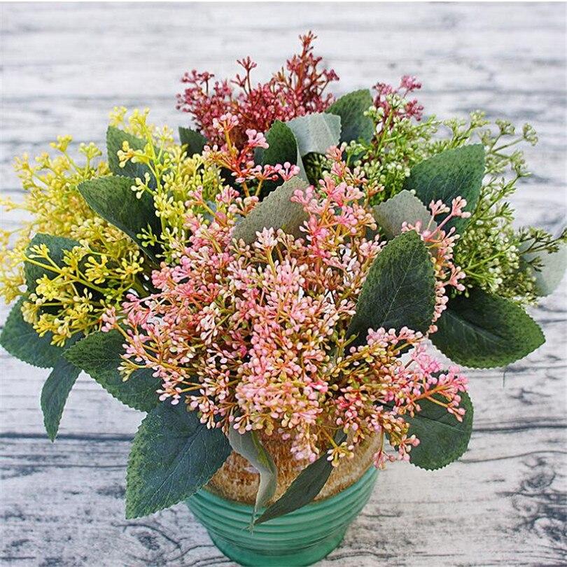 six bunches artificial Milan Flower Bouquet Plastic grass green greenery