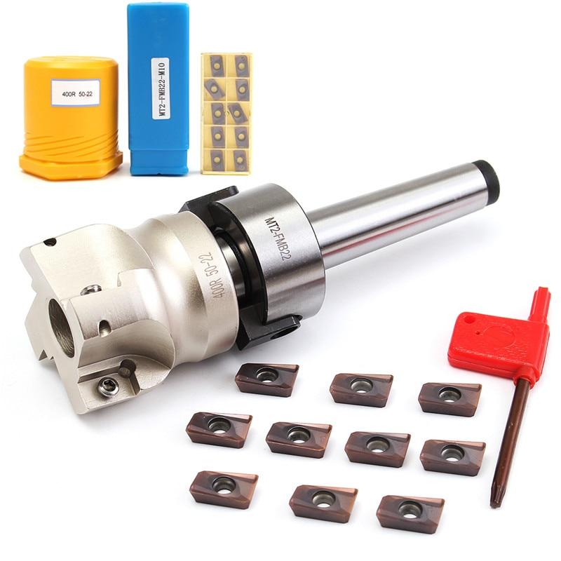 Nouvelle Fraise MT2 M10 & 50mm Visage Fin + 10 pièces Carbure Insert APMT1604 CNC Fraise Fraise Insert Kit Machines-outils