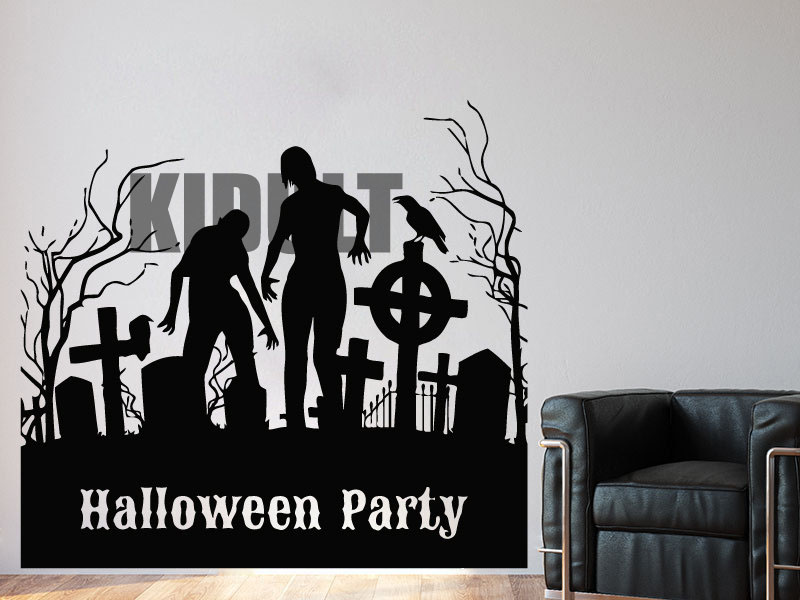 halloween cemetery tombstone wall decals wall stickers room bedroom interiors bar nightclub vinyl wallpaper wall mural - Halloween Wall Mural