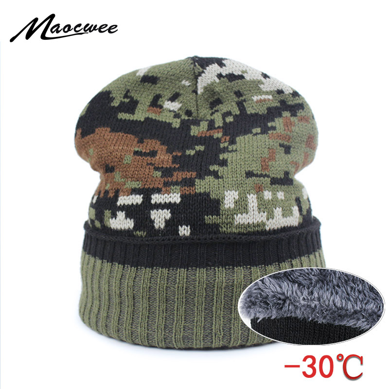9be4ce5c9ca Men s Winter Caps Beanie Camouflage Plus Cashmere Thick Hats for Men  Knitted Army Warm Snow Hat Beanies Cap with Ears 2018 New