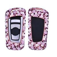 Luxury Alloy Car Key Case Cover Holder Shell Bag Diamond Decoration for BMW 1 2 3 5 6 X3 X4 GT series M2 M3 M4 M5 M6 Remote Key