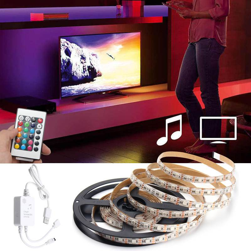 LED strip Music Sound Activated 0.5M/1M/1.5M/2M/3M/4M Waterproof IP65 with Remote Control RGB 5050 LED Strip Light Kit DC5V