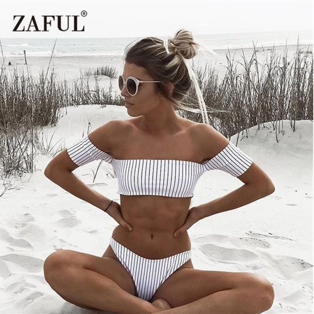Zaful Bikini 2018 Off Shoulder Swimwear Women Swimsuit Striped Thong Bikni Beach Bandage Bathing Suit Biquini maillot de bain