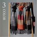 Cachecol de inverno quente dos homens da marca lenços de caxemira pashmina xales e lenços de algodão listrado casais cachecol