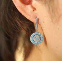 2017 High Quality Clip On Micro Pave Turquoises Stone Dangle Disco Charm Fashion Trendy Women Elegant