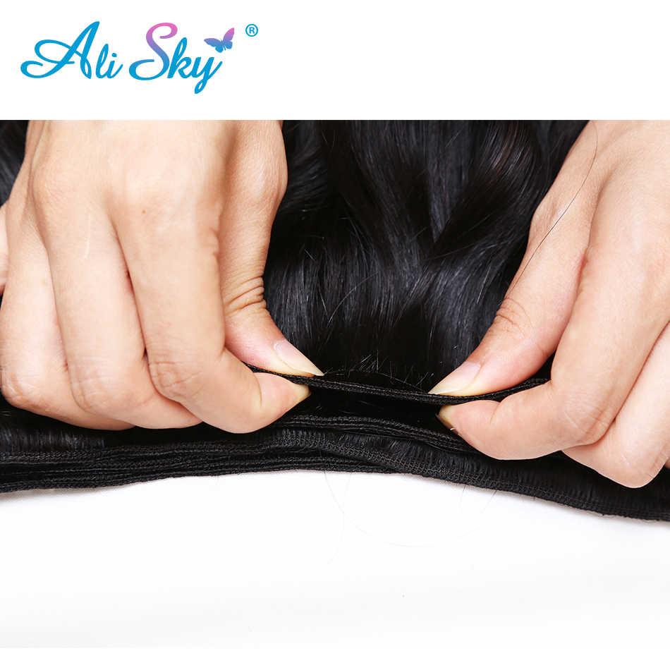 Малайзии тело волна 3 Связки сделки с 4x4 топ закрытия кружева Бесплатная/средний/третья часть [али небо] плетение волос, не Реми натуральный черный