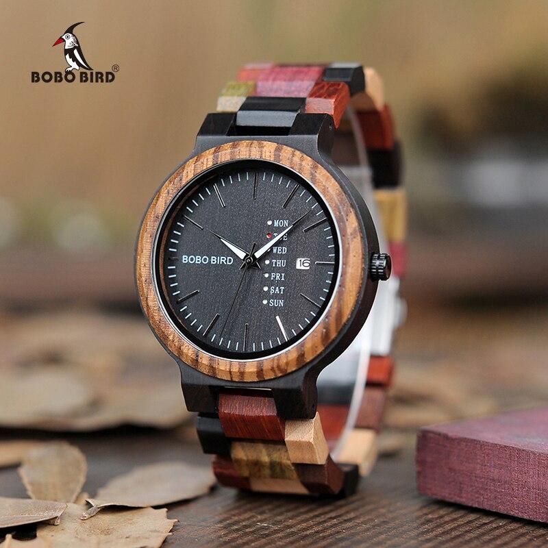 BOBO BIRD Роскошные Дизайнерские Авто Дата цвета деревянные часы для мужчин ручной работы Кварцевые наручные часы relogio masculino C-P14-1