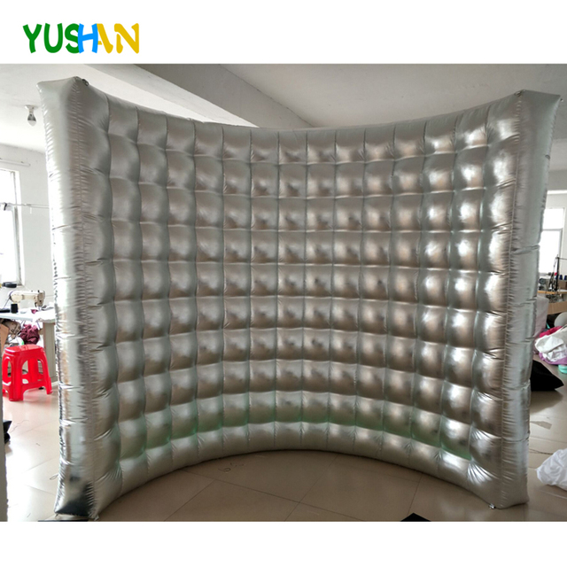Whole Shiny Silver Open air portable photo booth backdrop wall No LED Lights wedding Inflatable wall Photography backdrops Walls