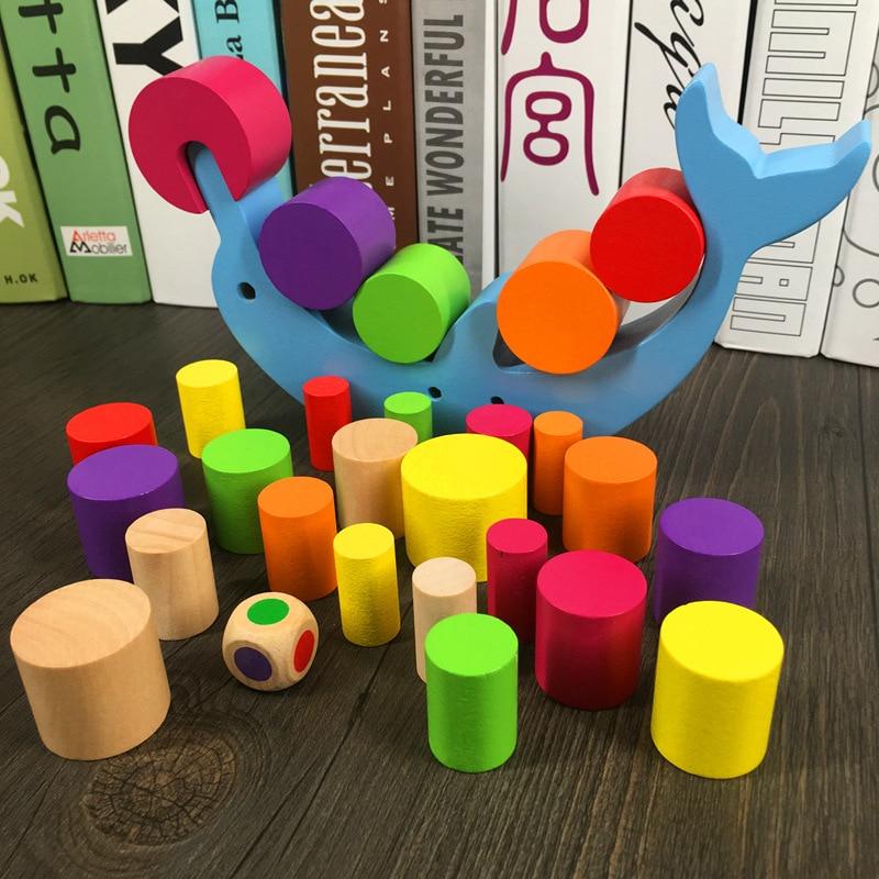 Милые животные mwz деревянные строительные цилиндрический Конструкторы Дельфин Баланс игры Обучающие развития интеллекта игрушка в подаро...