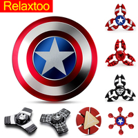 Captain America Spinner Metal Hand Fidget Spinners Super Hero EDC Tri Figet Spiner Superman Batman Spiderman Iron Man Finger Toy