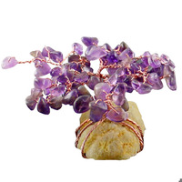 fengshuisale Fengshui Crystal Money Tree Natural Clear Crystal Cluster Base Bonsai Sculpture Good Luck Decoration W3388